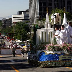South Jordan River Ridge Stake's Float wins the Ensign Award in the Days of '47 Parade in Salt Lake City on Saturday.