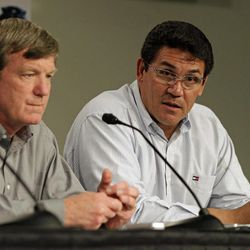 Carolina Panthers head coach Ron Rivera, right, answers a question as general manager Marty Hurney, left, looks on during a pre-draft news conference for the NFL football team in Charlotte, N.C., Thursday, April 19, 2012.