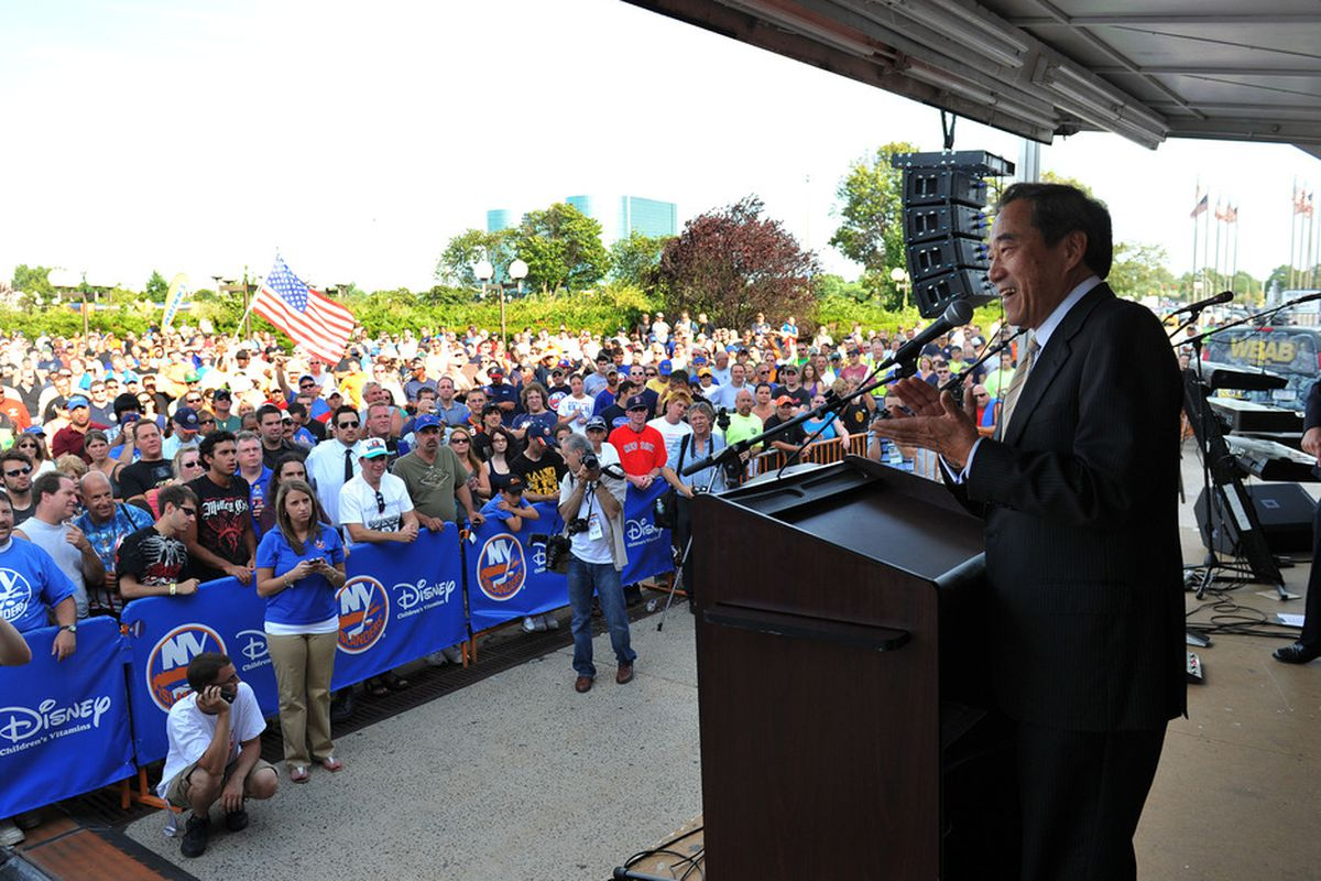 UNIONDALE, NY - JULY 27: Charles Wang, owner of the New York Islanders, speaks during the fan rally at Nassau Coliseum on July 27, 2011 in Uniondale, New York. (Photo by Christopher Pasatieri/Getty Images)