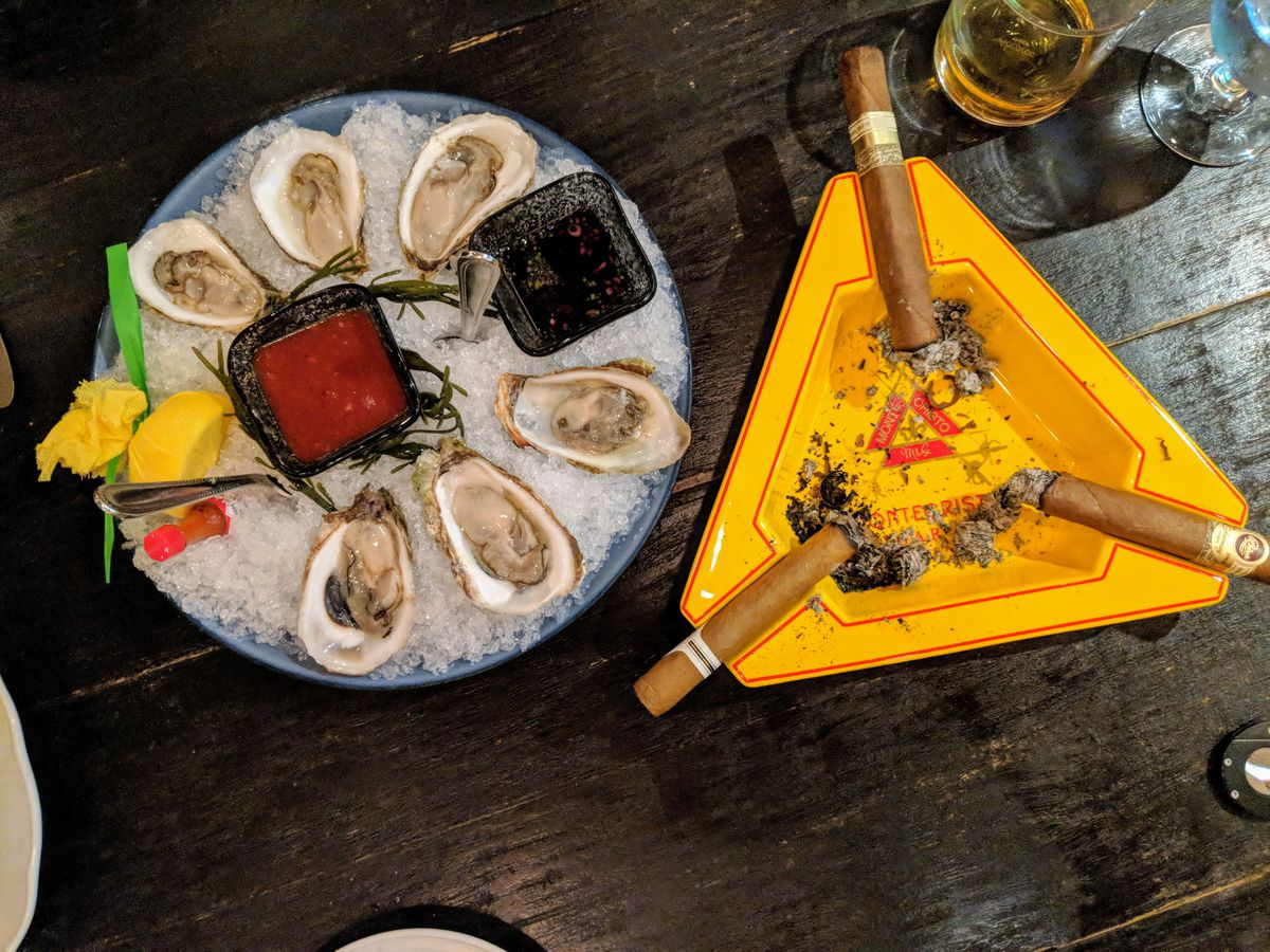 Oysters and cigars at the Clubhouse at Montecristo by Old Homestead