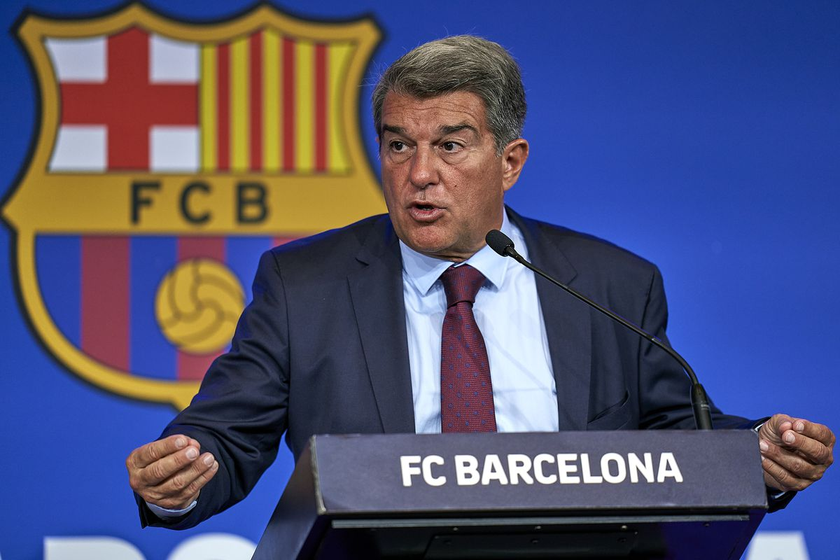 President, Joan Laporta Of FC Barcelona Press Conference