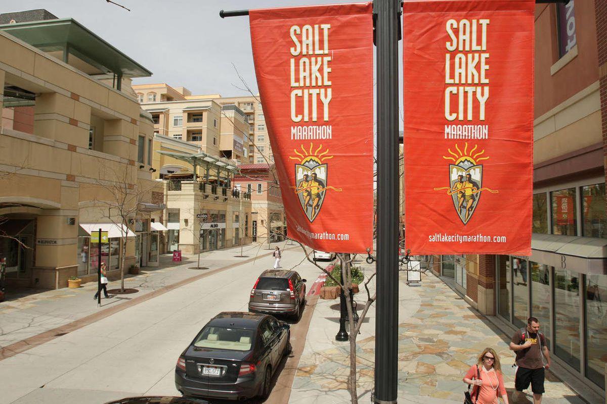 Salt Lake City Marathon flags hang at the Gateway in Salt Lake City  Wednesday, April 13, 2011.