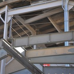 Safety cable lines installed along the bleacher patio -