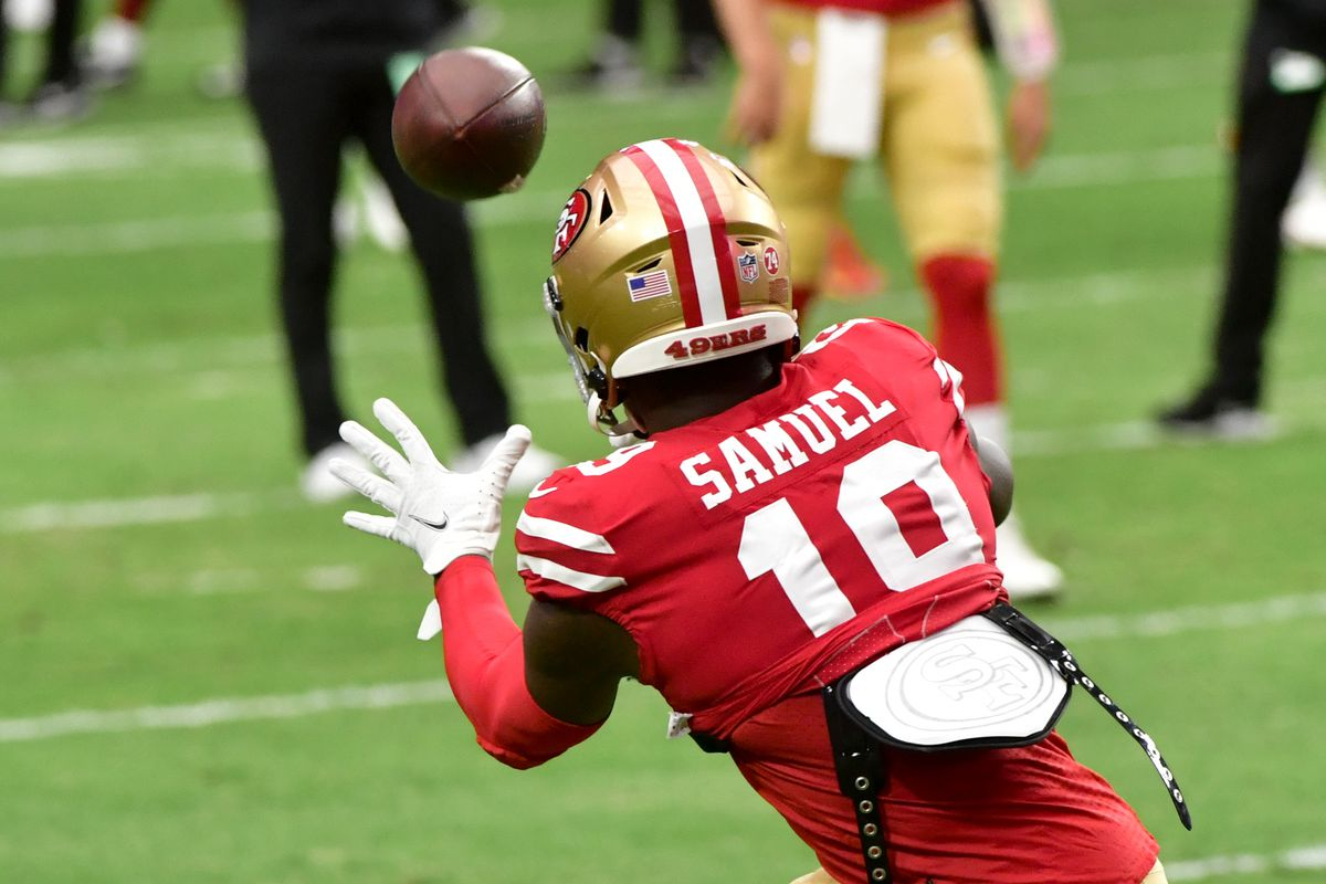 San Francisco 49ers wide receiver Deebo Samuel (19) warms up prior to the game against the Washington Football Team at State Farm Stadium.