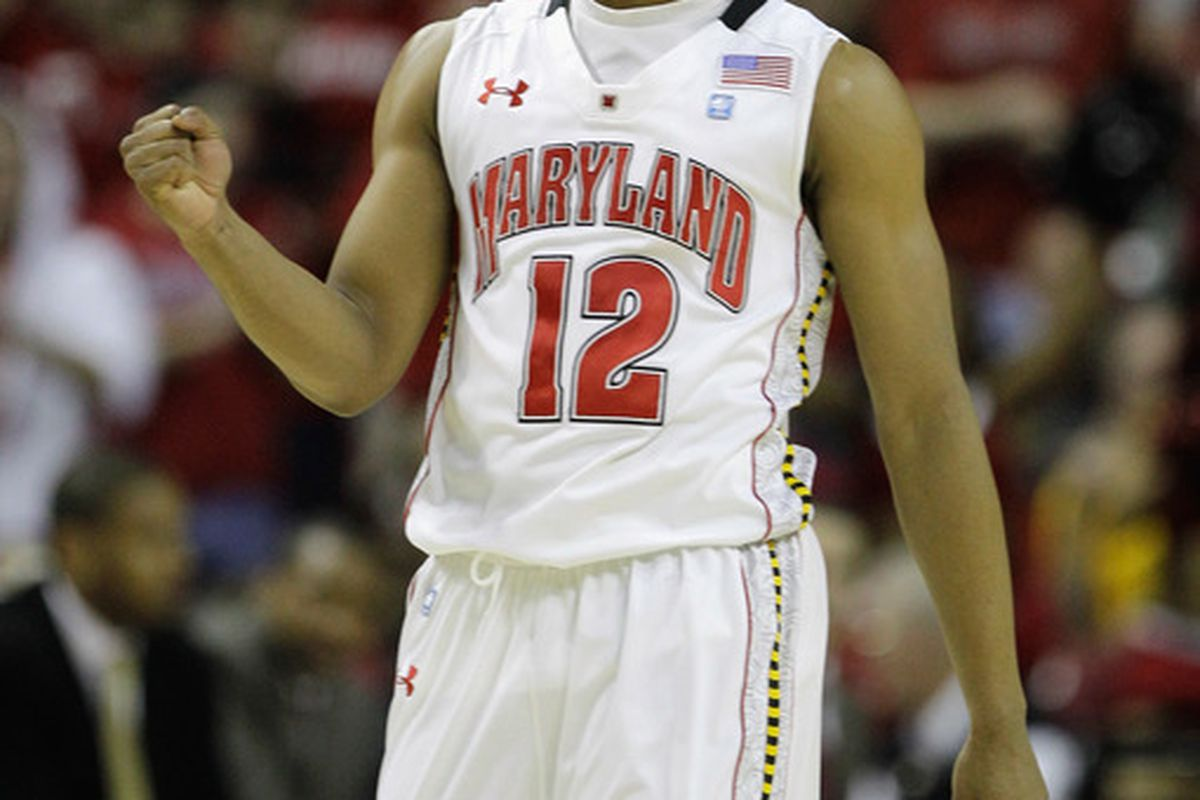 COLLEGE PARK MD - FEBRUARY 20: Terrell Stoglin #20 of the  Maryland Terrapians celebrates after scoring against the NC State Wolfpack at the Comcast Center on February 20 2011 in College Park Maryland.  (Photo by Rob Carr/Getty Images)