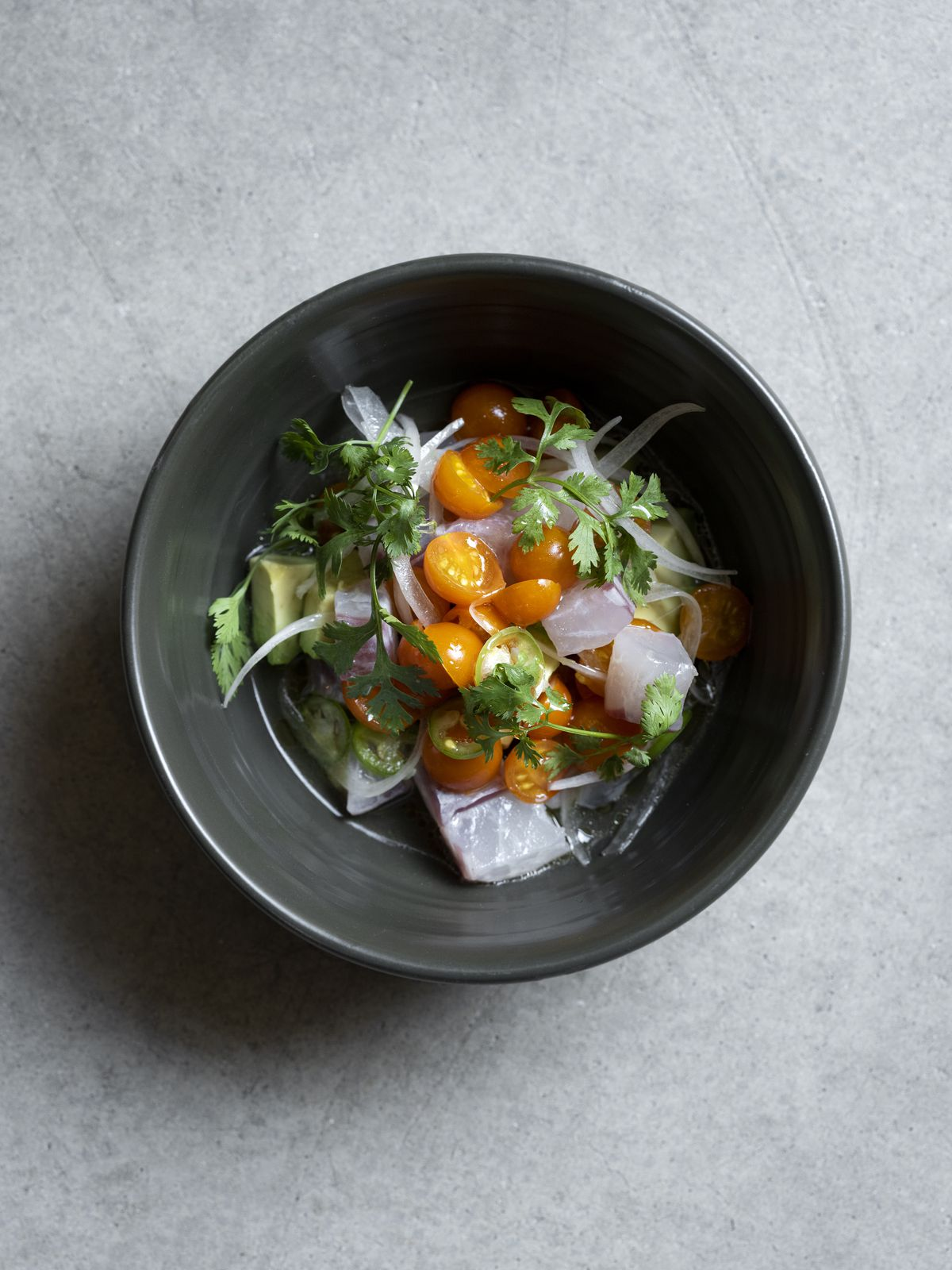 Rockfish ceviche at Damian with salsa Mexicana and olive kosho.