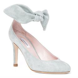"""Carven <a href=""""http://www.forwardbyelysewalker.com/fw/DisplayProduct.jsp?code=CARV-WZ2"""">bow heel in gray</a>: """"I love an ankle strap and this is a playful, spring-y take on the detail."""""""