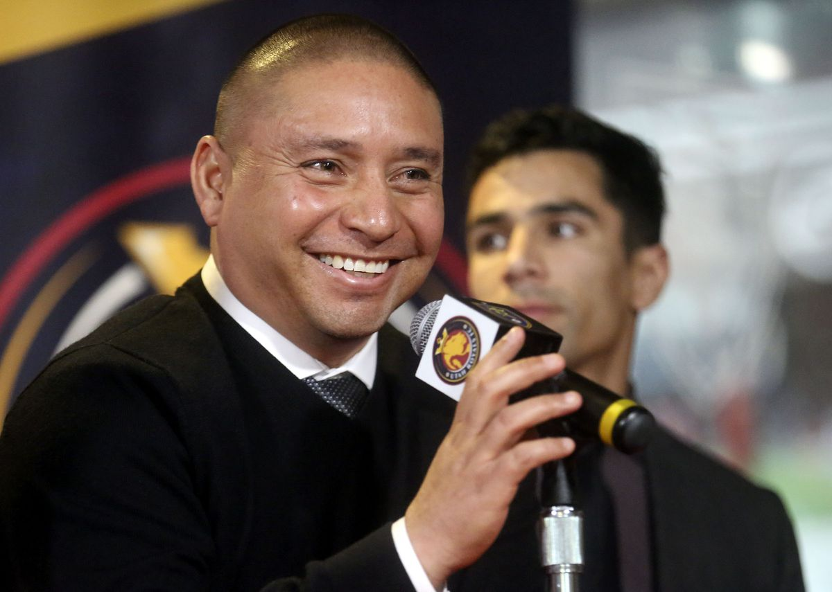 Real Salt Lake head coach Freddy Juarez talks to the media during a press conference at Rio Tinto Stadium in Sandy on Tuesday, Dec. 3, 2019.