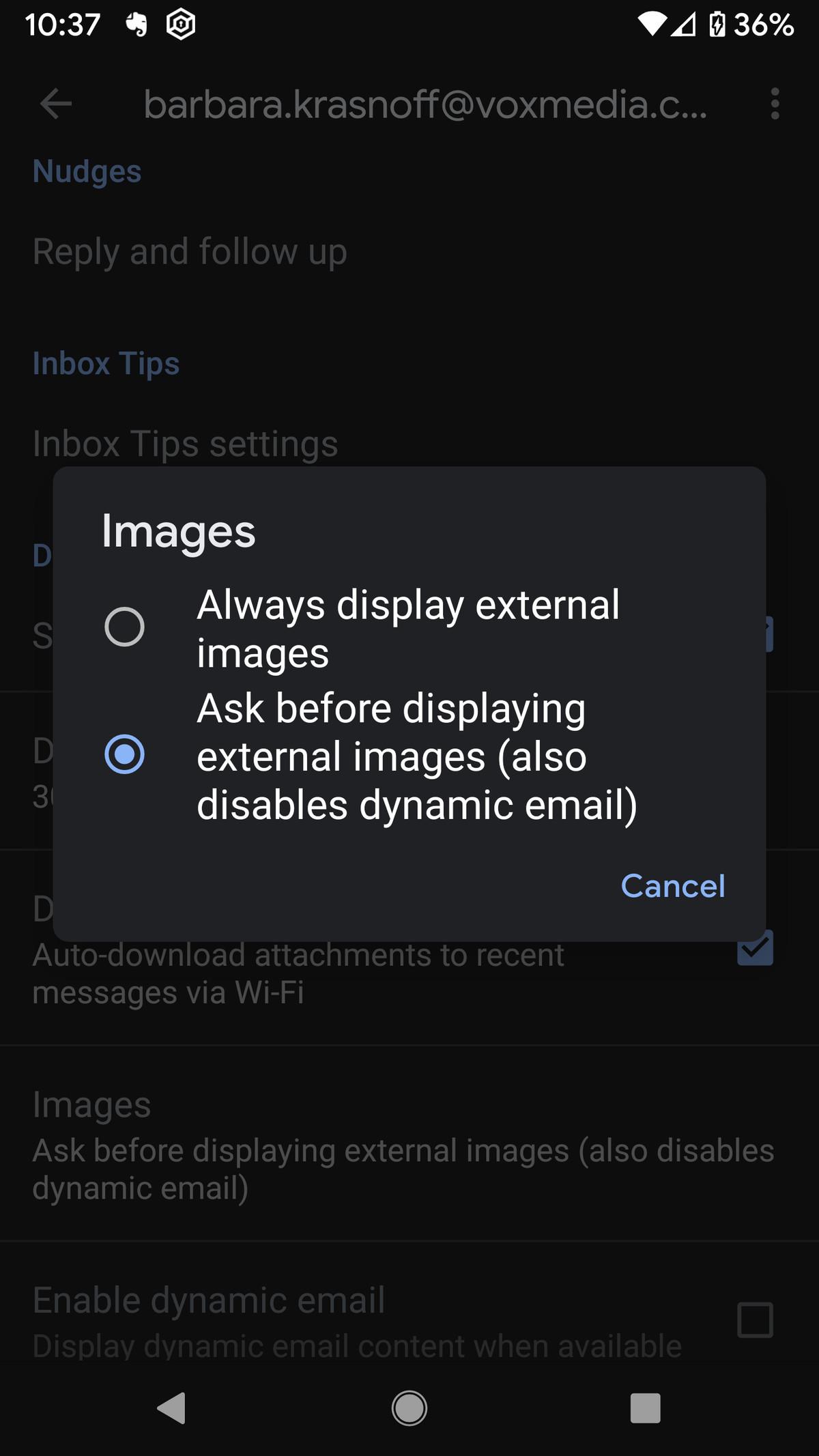 Ahora puede deshabilitar la carga automática de imágenes.