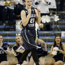 BYU's Lexi Eaton reacts to a foul call on North Carolina State during the first half of a first-round game in the NCAA women's college basketball tournament on Saturday, March 22, 2014, in Los Angeles. (AP Photo/Jae C. Hong)