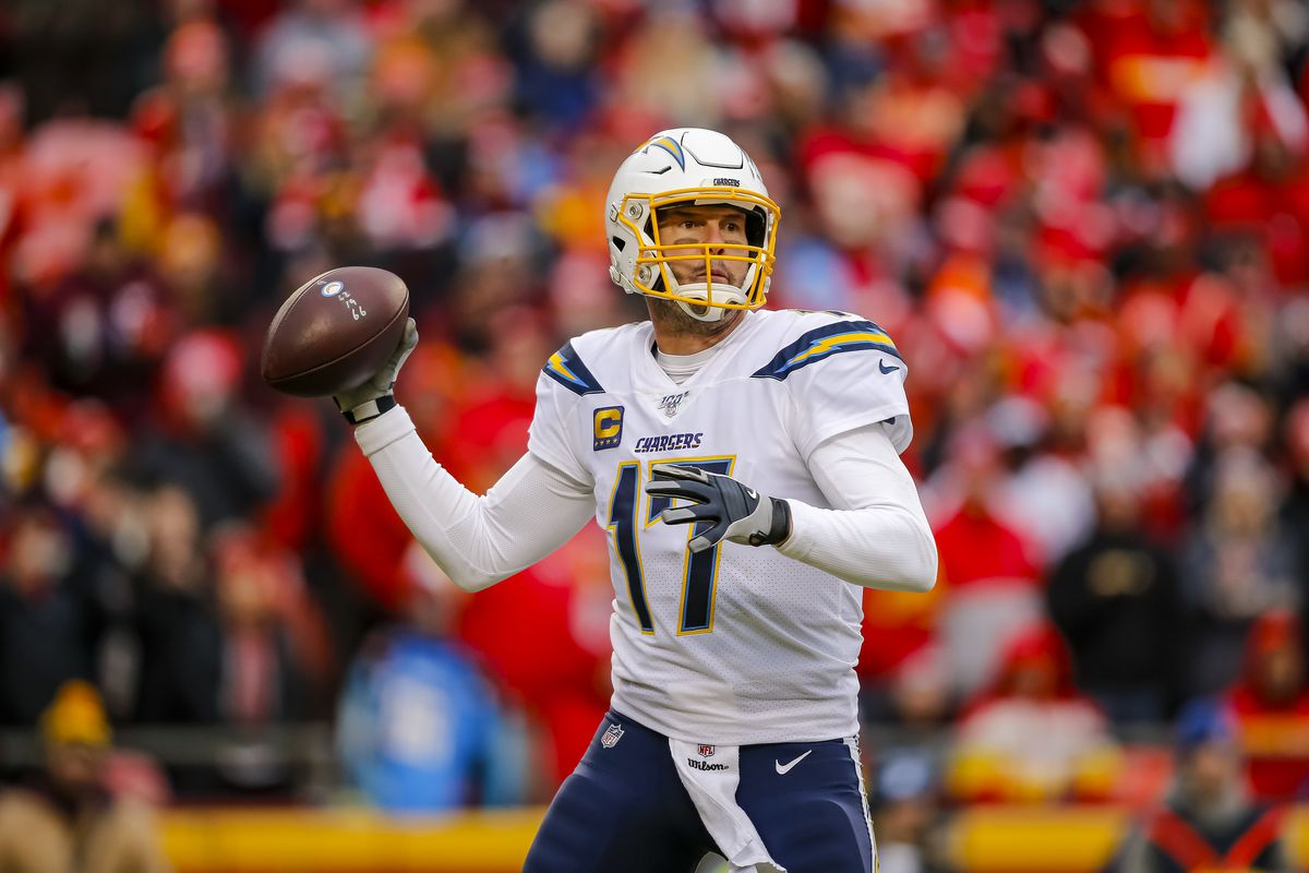 Philip Rivers #17 of the Los Angeles Chargers looks for an open receiver during the third quarter against the Kansas City Chiefs at Arrowhead Stadium on December 29, 2019 in Kansas City, Missouri.