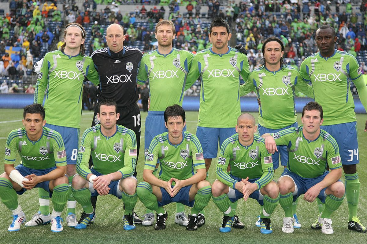 SEATTLE - MAY 25:  Members of the Seattle Sounders FC pose for the team photo prior to the game against FC Dallas at Qwest Field on May 25, 2011 in Seattle, Washington. FC Dallas defeated the Sounders 1-0. (Photo by Otto Greule Jr/Getty Images)