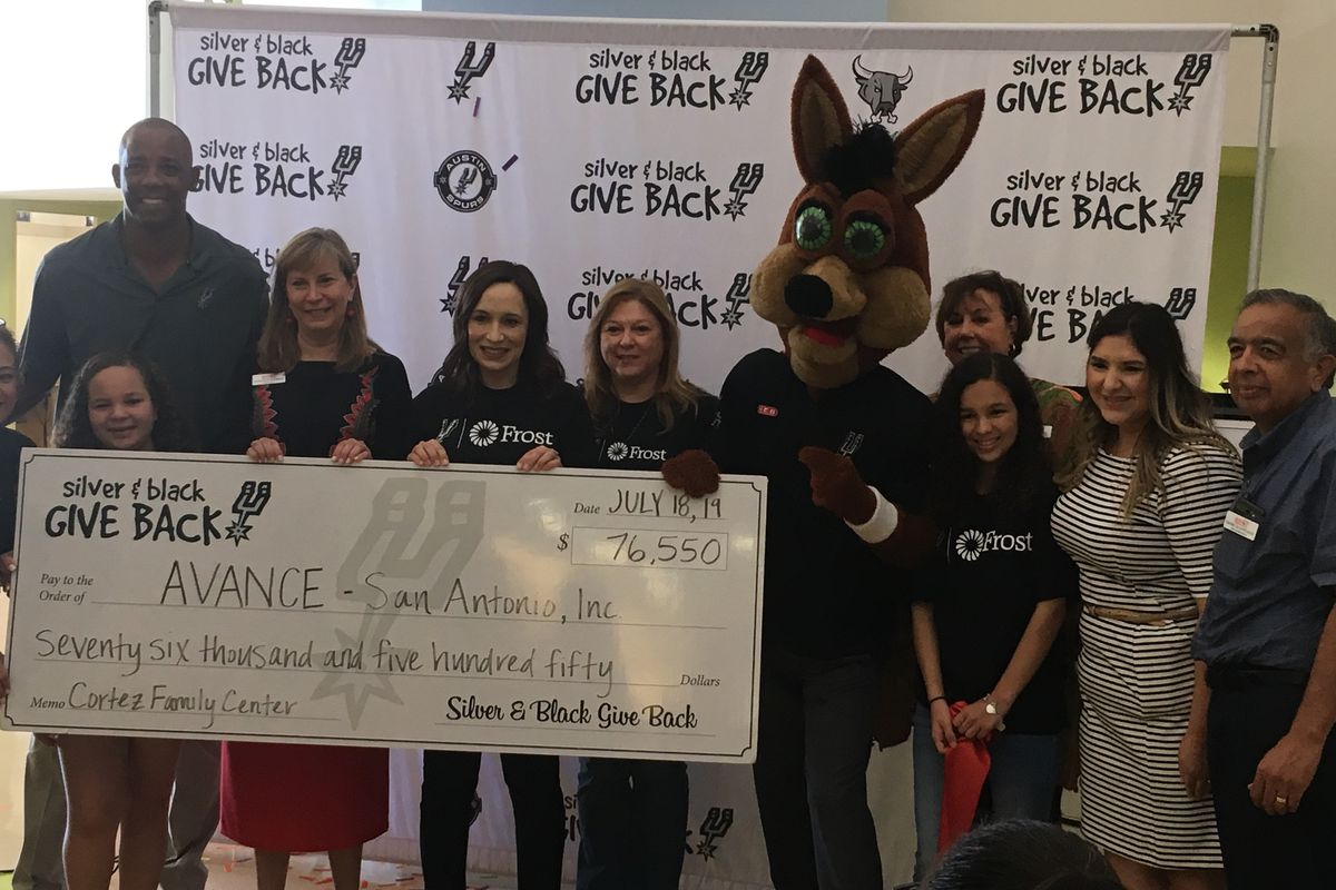 more photos adc22 9dd4d Spurs SBGB and Frost Bank donate $200,000 to San Antonio ...
