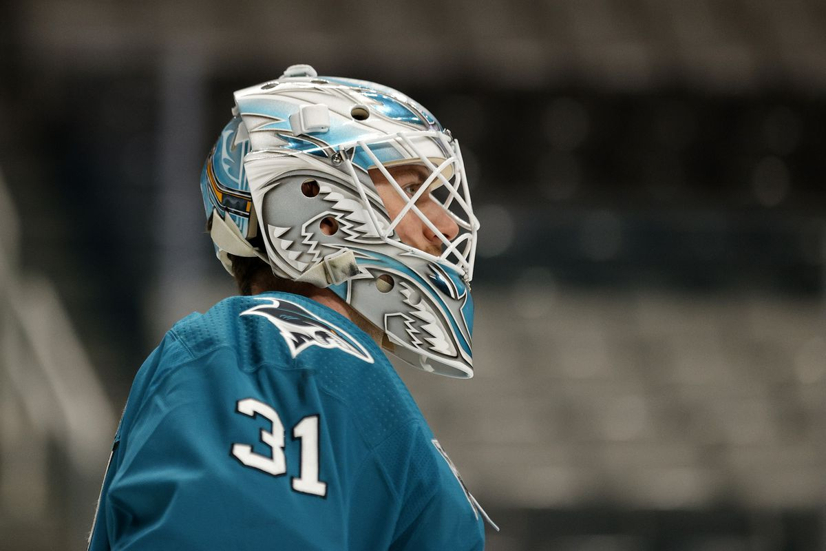 Martin Jones #31 of the San Jose Sharks in action against the Minnesota Wild at SAP Center on March 29, 2021 in San Jose, California.