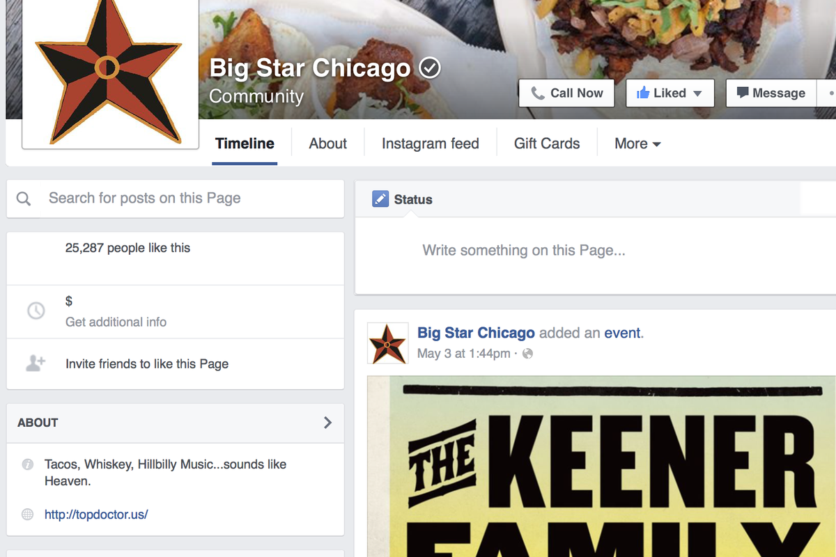Big Star's Facebook Page Hacked, Providing Restaurants a