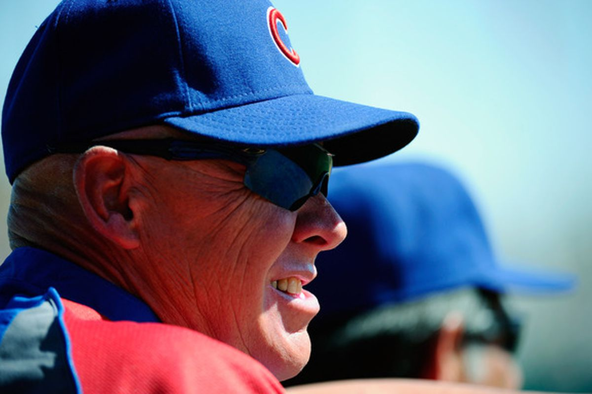 Manager Mike Quade of the Chicago Cubs during the spring training baseball game against  the Chicago White Sox at Camelback Ranch in Glendale, Arizona.  (Photo by Kevork Djansezian/Getty Images)