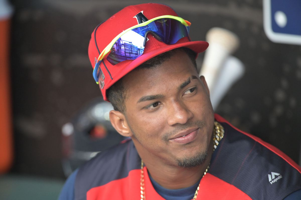 American League shortstop Wander Franco (40) sits in the dugout before the 2019 MLB All Star Futures Game at Progressive Field.
