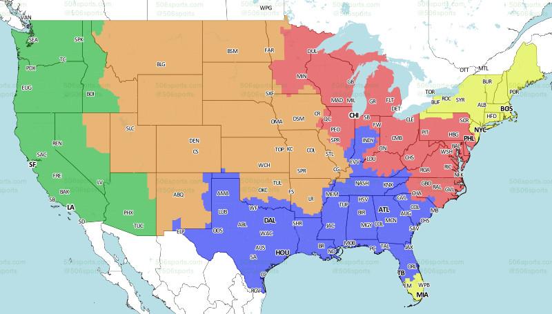 Kansas City Chiefs At Denver Broncos TV Broadcast Map CBS - Kansas world map