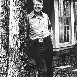 Carter relaxes at his home in Plains, Ga., during his presidential bid.