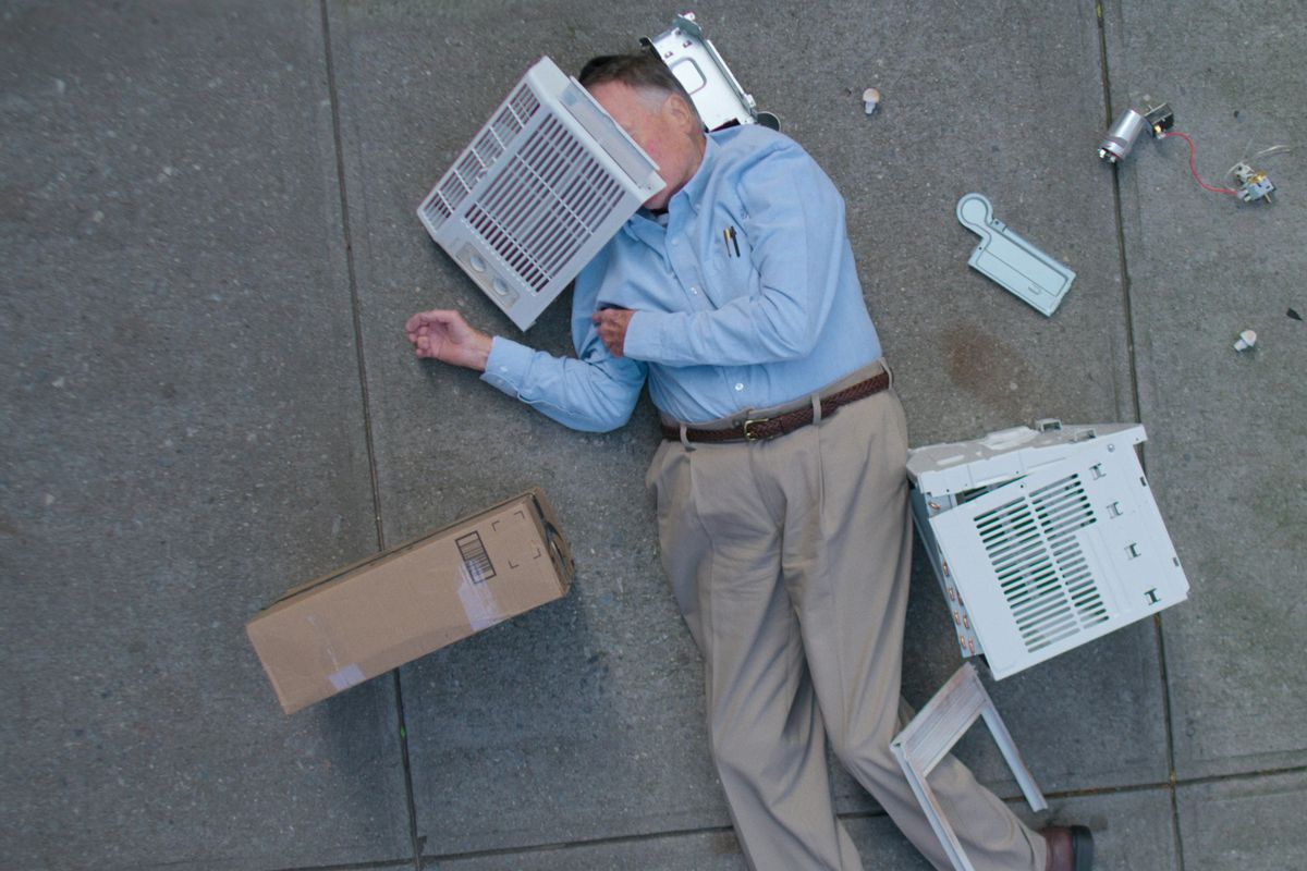 Dick Johnson lying on the sidewalk surrounded by shattered air-conditioner parts in Dick Johnson is Dead