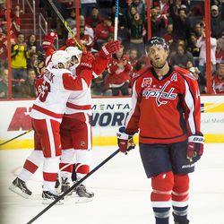 Red Wings Celebrate Behind Orpik