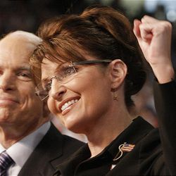 """John McCain, seen campaigning with Sarah Palin, says vice presidency """"is a key and important issue."""""""