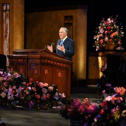 Elder Neil L. Andersen, of the Quorum of the Twelve Apostles, speaks during the Saturday afternoon session of The Church of Jesus Christ of Latter-day Saints' 191st Annual General Conference in Salt Lake City April 3, 2021.