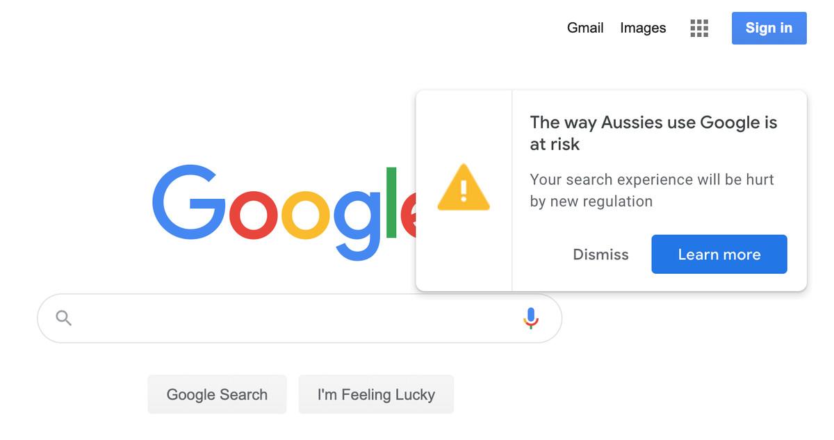 O Google pressiona os usuários australianos contra os planos de fazê-los pagar por notícias 2