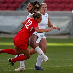 American Fork's Josie Shepherd earns a penalty kick as she is sent tumbling by Fremont's Callee Hill in a 6A girls soccer semifinal game at Rio Tinto Stadium in Sandy on Tuesday, Oct. 20, 2020.