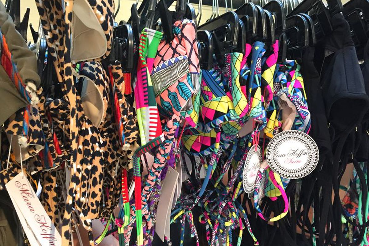 The bright, patterned swimwear at last week's sample sale