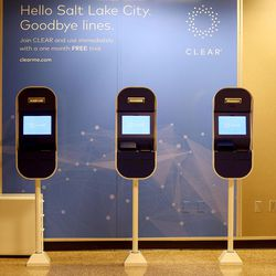 Pods for CLEAR, a new biometric, fee-based service that allows travelers to move past manual ID verification lines using fingerprints and iris scans, are pictured at the Salt Lake City International Airport in Salt Lake City on Wednesday, July 12, 2017.