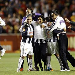 The Rayados of Monterrey react to winning the final game of the CONCACAF championship against Real Salt Lake at Rio Tinto Stadium in Sandy Wednesday, April 27, 2011.