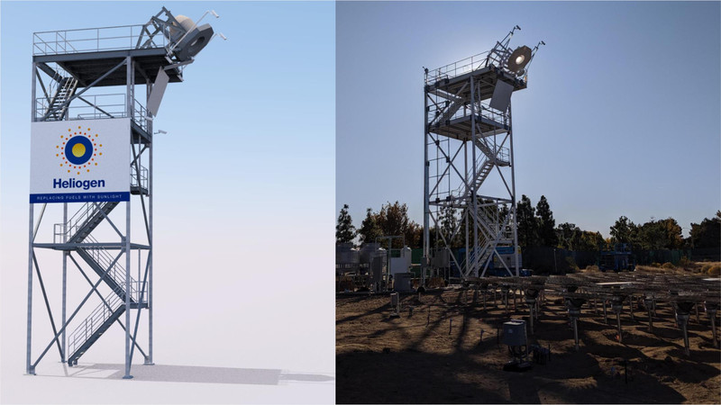A rendering of the Heliogen tower on the left; the actual tower, in Lancaster, California, on the right.