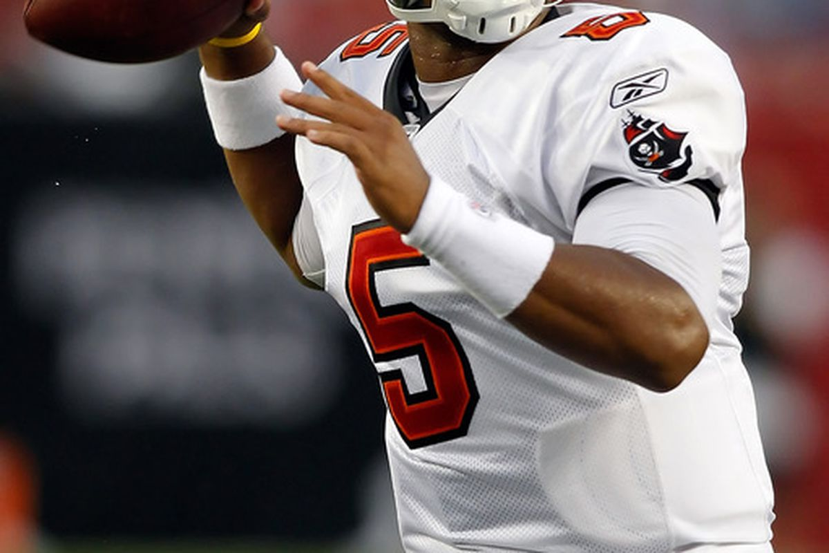 TAMPA FL - AUGUST 21:  Quarterback Josh Freeman #5 of the Tampa Bay Buccaneers throws a pass against the Kansas City Chiefs during a preseason game at Raymond James Stadium on August 21 2010 in Tampa Florida.  (Photo by J. Meric/Getty Images)