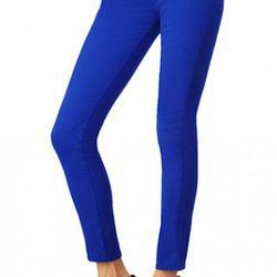 J Brand's cobalt skinnies, styled with stilettos