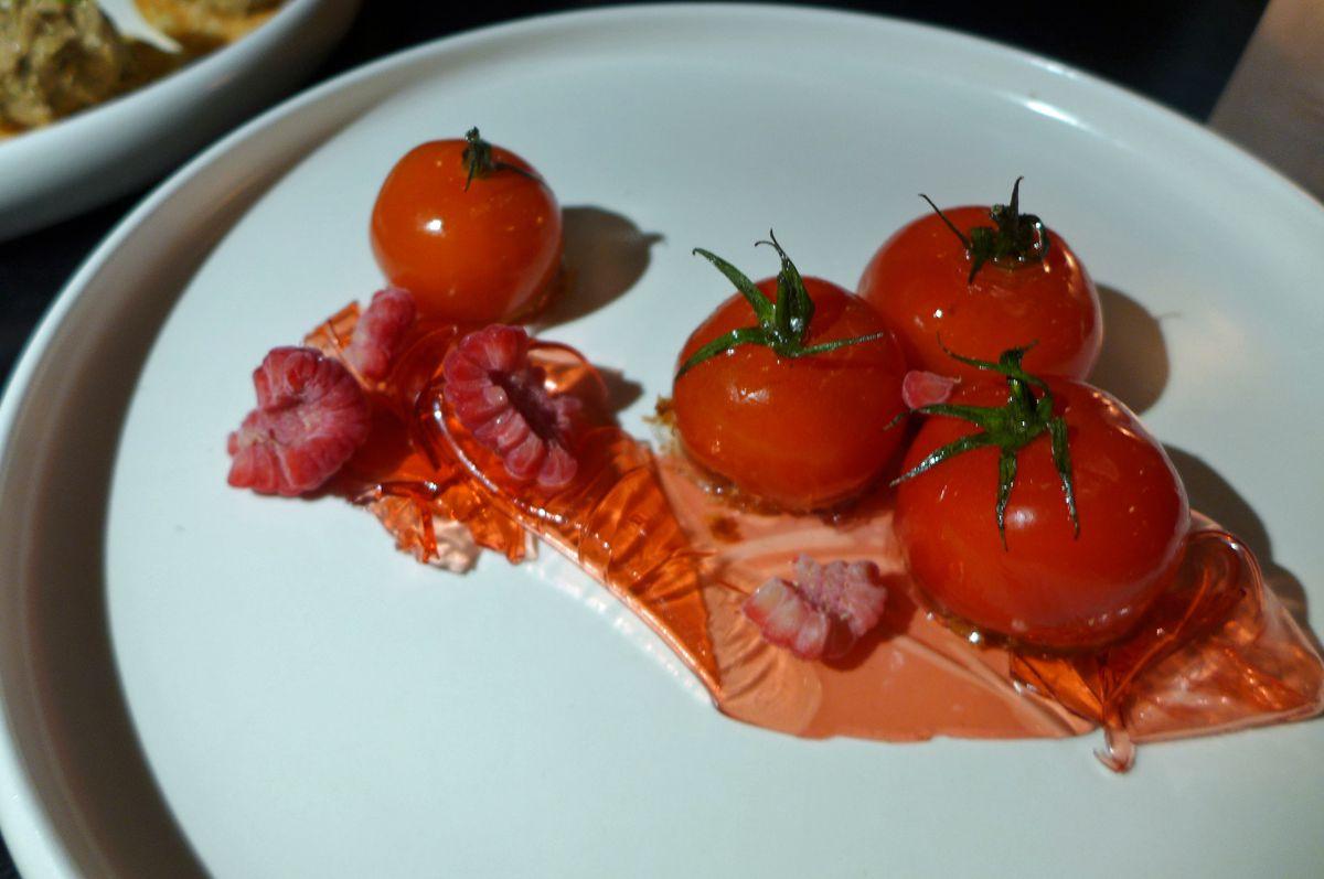 Champagne glazed tomatoes