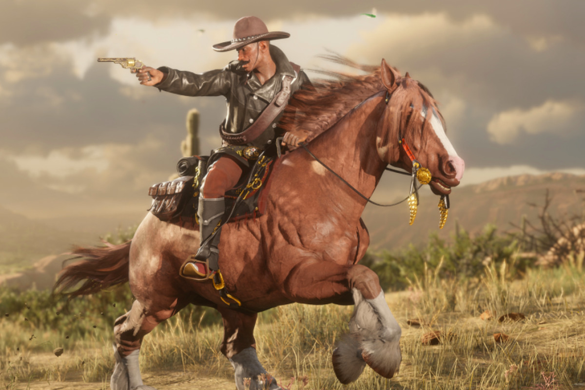 A Red Dead Online player rides a horse while aiming a gun.