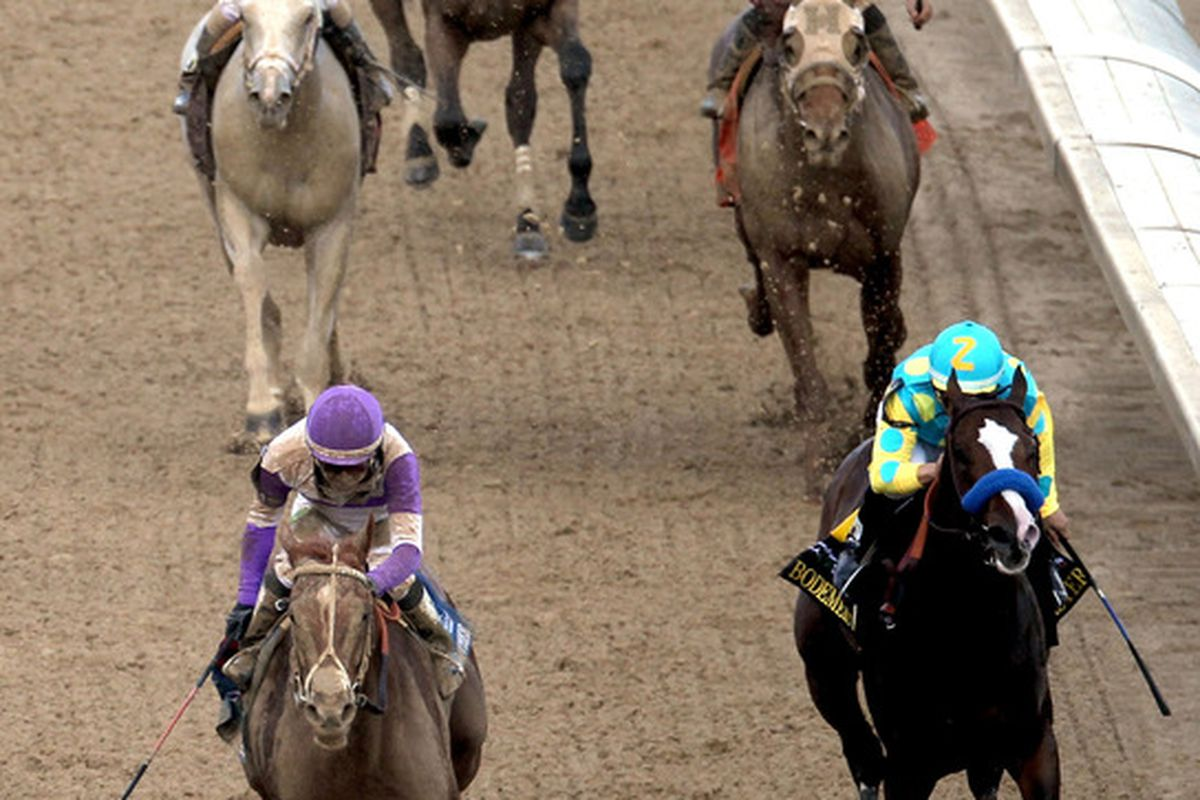 LOUISVILLE, KY - MAY 05:  I'll Have Another, with jockey Mario Guitierrez onboard, crosses the finish line to win the 138th running of the Kentucky Derby at Churchill Downs on May 5, 2012 in Louisville, Kentucky.  (Photo by Jamie Squire/Getty Images)