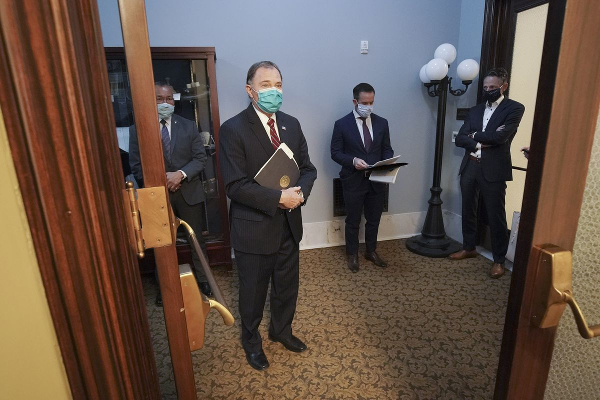 Gov. Gary R. Herbert waits to speaks at a press conference at the Capitol in Salt Lake City on Friday, April 17, 2020, where legislative, community, business and religious leaders announced plans to reactivate Utah's economy amid the coronavirus pandemic.