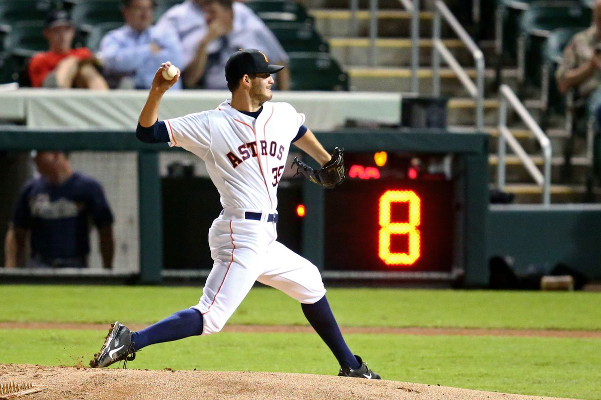 The pitch clock during an AFL game last October. The Astros' Mark Appel is the pitcher
