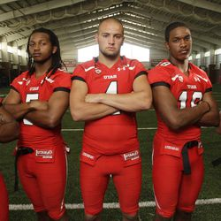 Utah Utes defensive backs Ryan Lacy (26), Mo Lee (5), Brian Blechen (4),  Eric Rowe (18)  and  Quade Chappuis (19) pose during media day in Salt Lake City  Saturday, Aug. 4, 2012.