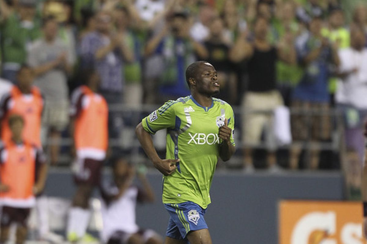 SEATTLE, WA - JULY 07:  Steve Zakuani #11 of the Seattle Sounders takes the field against the Colorado Rapids at CenturyLink Field on July 7, 2012 in Seattle, Washington. (Photo by Otto Greule Jr/Getty Images)