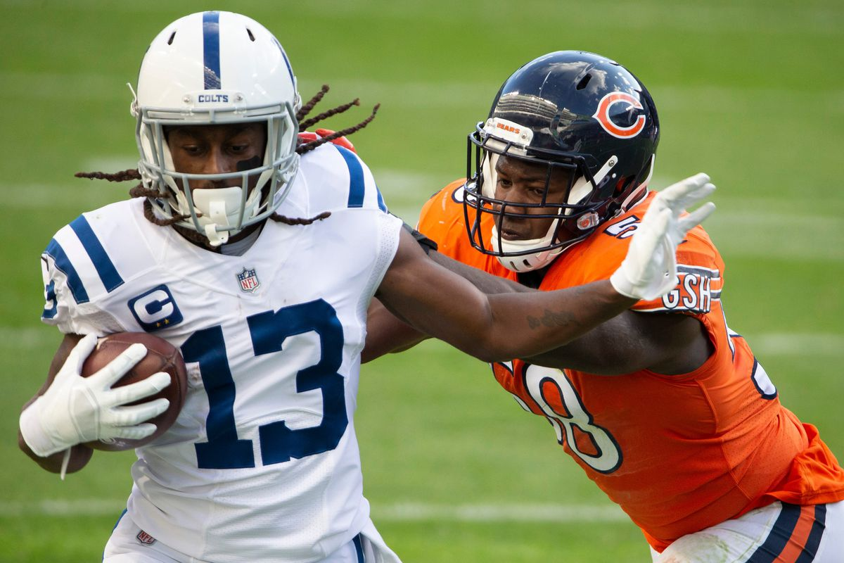 Indianapolis Colts wide receiver T.Y. Hilton (13) runs with the ball during the second quarter as the Chicago Bears host the Indianapolis Colts at Soldier Field in Chicago on Sunday, Oct. 4, 2020.