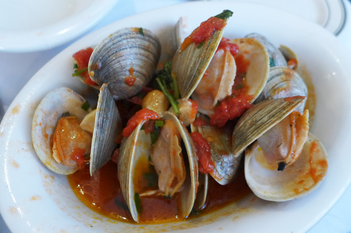 A white bowl of open steamed clams in a red sauce