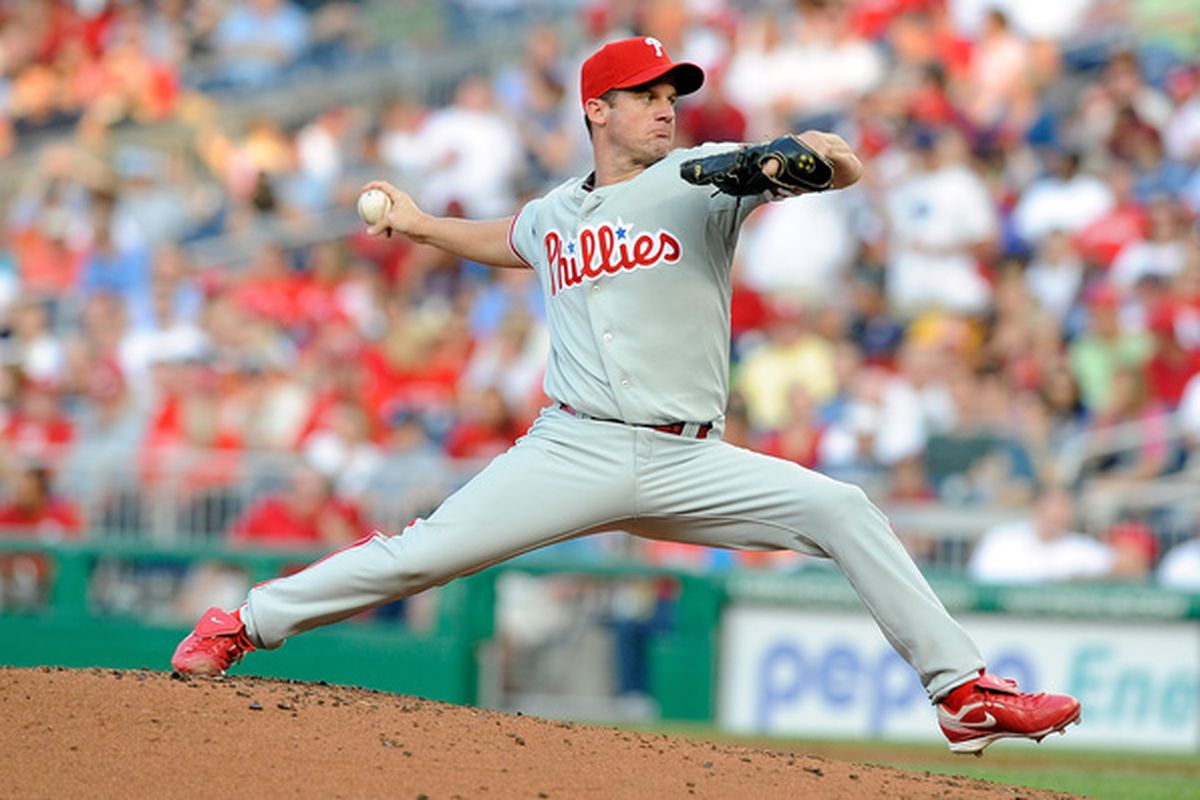 WASHINGTON - JULY 30:  Roy Oswalt #44 of the Philadelphia Phillies pitches against the Washington Nationals at Nationals Park on July 30 2010 in Washington DC.  (Photo by Greg Fiume/Getty Images)