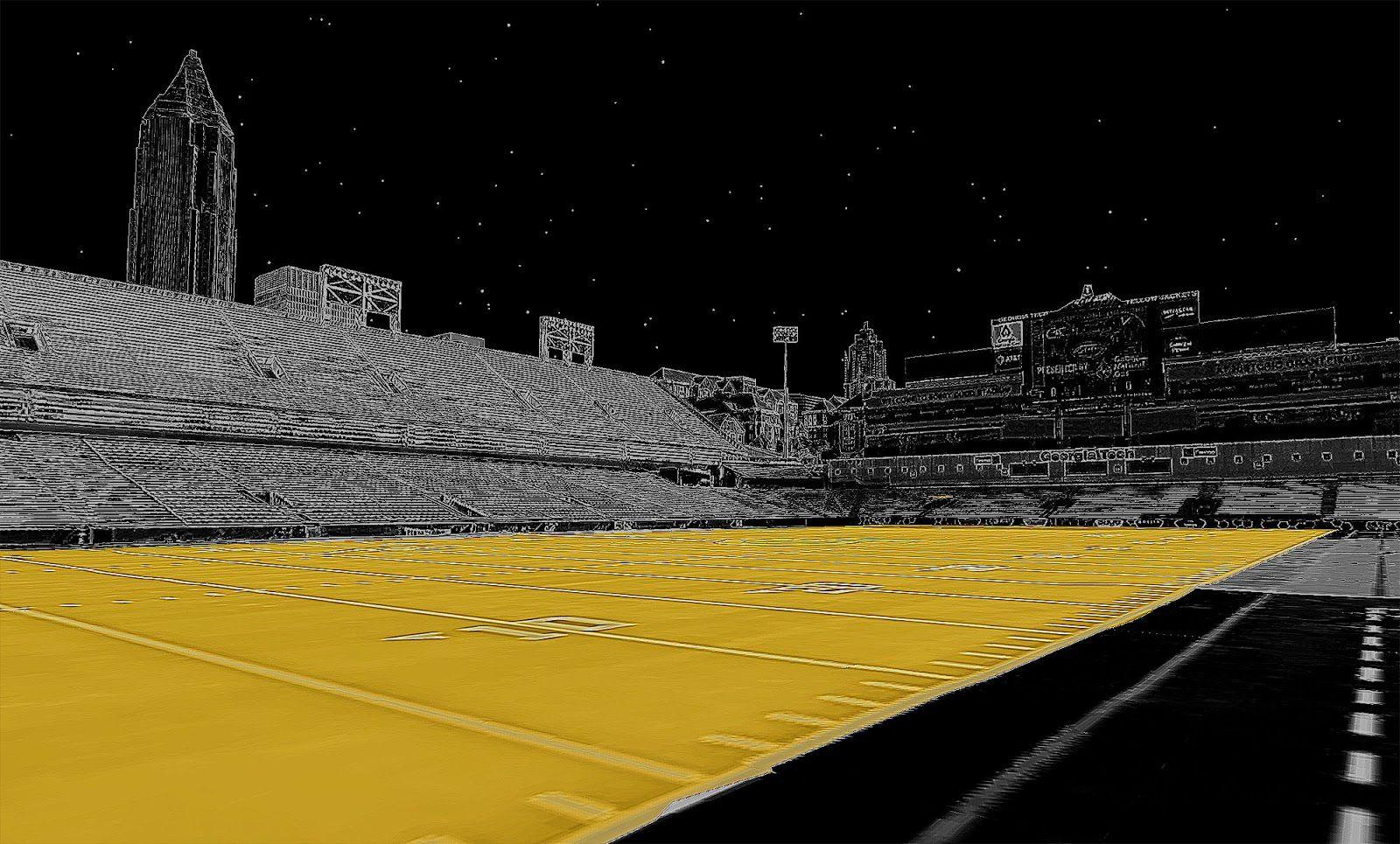 Closeup of Bobby Dodd Stadium.
