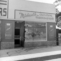 "Mickey Cohen's men's shop, allegedly a front. Photo via <a href=""http://lamorguefiles.blogspot.com/2012/07/mickey-cohens-sunset-blvd-clothing.html"">LA Morgue Files</a>."