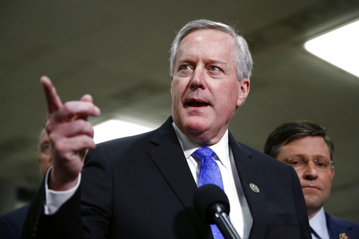 Rep. Mark Meadows, R-N.C., speaks with reporters during the impeachment trial