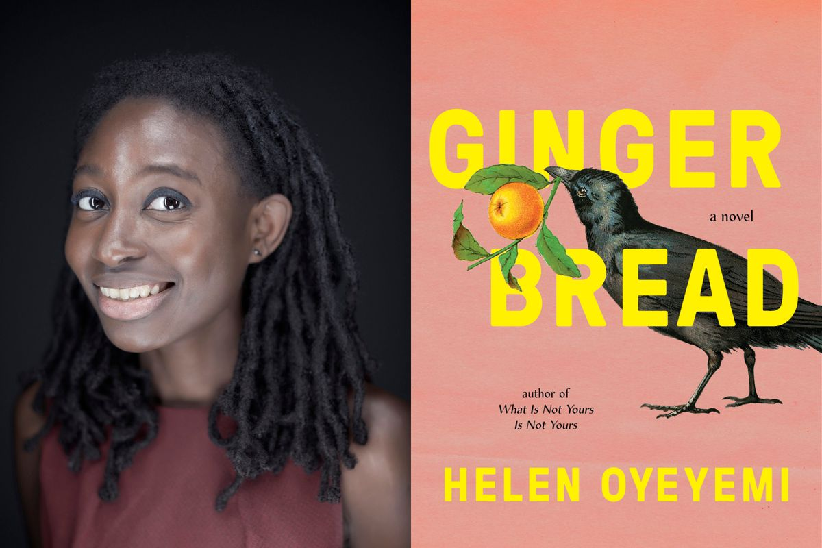 """Author Helen Oyeyemi, left, and the cover of her book """"Gingerbread."""""""