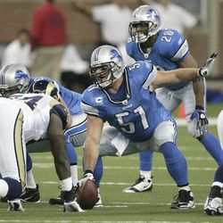 FILE - This Nov. 1, 2009 file photo shows Detroit Lions' center Dominic Raiola (51) during a game against the St. Louis Rams, in Detroit. Raiola expects to have memory loss because of head injuries. Still, he can't envision suing the NFL as hundreds of former players have because of health problems.